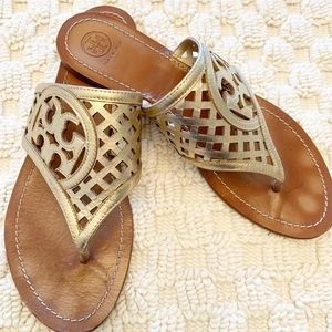 Tory Burch size 11 logo sandals gold